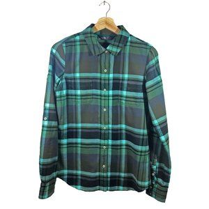 North Face Green Plaid Button Front Shirt